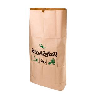 Naturabiomat GmbH BIOMAT® Bioabfallsack aus Kraftpapier, 120 Liter, Bioabfallsäcke biologisch abbaubar und kompostierbar, 1 Bündel = 25 Stück, 1-lagig nassfest PSE-120-ZF
