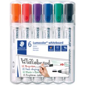 STAEDTLER Mars Deutschland GmbH Staedler Lumocolor 351 Whiteboard-Marker Set, Rundspitze, Schnelltrocknender Marker, trocken abwischbar, 1 Set = 6 Marker 5653299