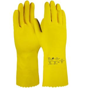 Handschuhe Fitzner Latex Haushaltshandschuh, gelb, Antibakterieller Haushalthandschuh mit Wabenprofil, 1 Packung = 12 Paar, Größe: 9