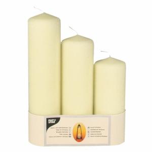 Papstar Kamin- und Laternenkerzen creme, Größe: 70 mm, 1 Packung = 3 Stück