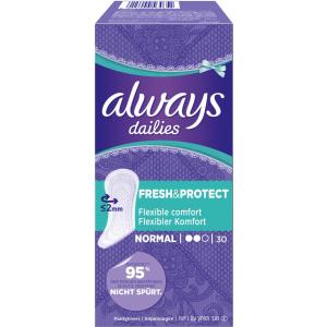 Always dailies Slip-Einlagen Fresh & protect, Normal, Flexibler Komfort, 1 Packung = 30 Stück