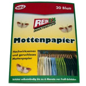 Reinex Chemie GmbH Reinex Kleidermottenpapier, Mottenschutz, 1 Doppelpackung = 20 Stück 1361